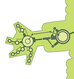 Detail of crocodilia mechanica skeletal structure.